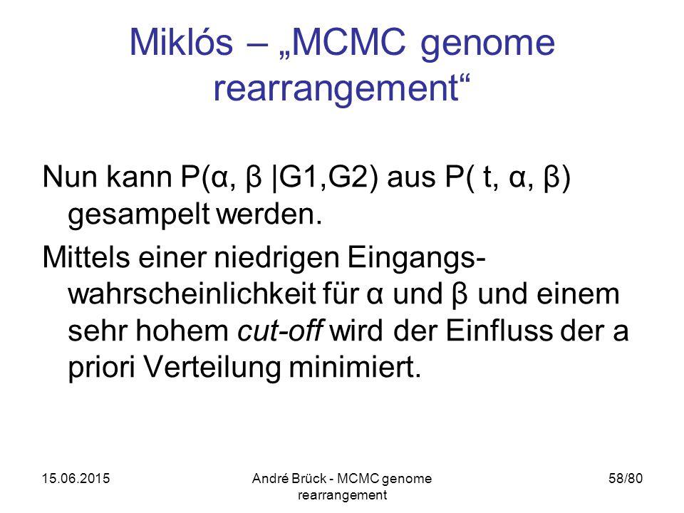 "15.06.2015André Brück - MCMC genome rearrangement 58/80 Miklós – ""MCMC genome rearrangement"" Nun kann P(α, β |G1,G2) aus P( t, α, β) gesampelt werden."