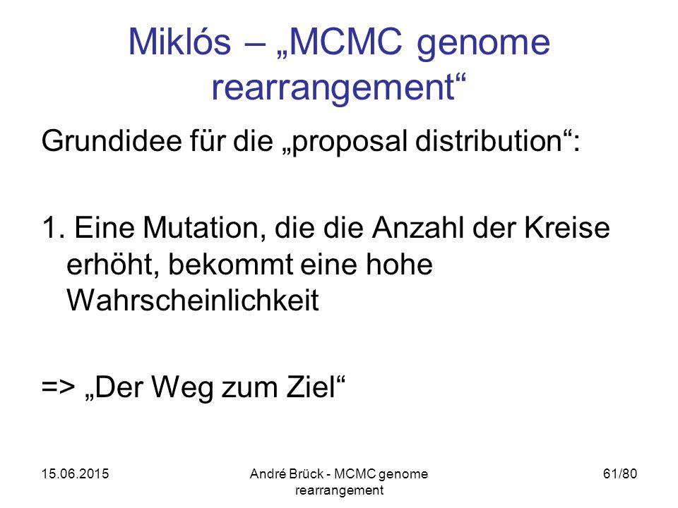 "15.06.2015André Brück - MCMC genome rearrangement 61/80 Miklós – ""MCMC genome rearrangement"" Grundidee für die ""proposal distribution"": 1. Eine Mutati"