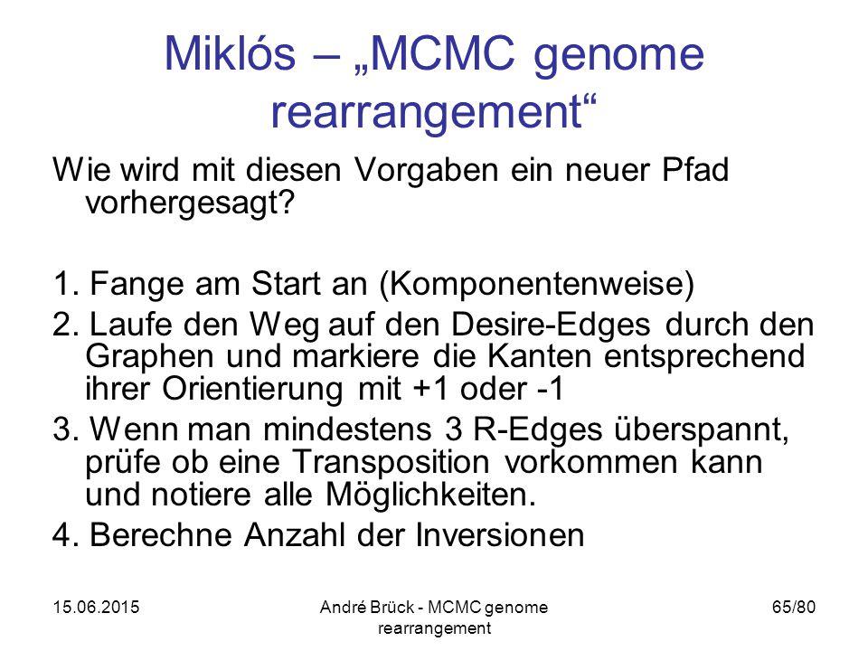 """15.06.2015André Brück - MCMC genome rearrangement 65/80 Miklós – """"MCMC genome rearrangement Wie wird mit diesen Vorgaben ein neuer Pfad vorhergesagt."""