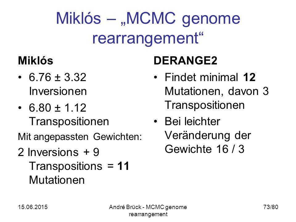 """15.06.2015André Brück - MCMC genome rearrangement 73/80 Miklós – """"MCMC genome rearrangement Miklós 6.76 ± 3.32 Inversionen 6.80 ± 1.12 Transpositionen Mit angepassten Gewichten: 2 Inversions + 9 Transpositions = 11 Mutationen DERANGE2 Findet minimal 12 Mutationen, davon 3 Transpositionen Bei leichter Veränderung der Gewichte 16 / 3"""
