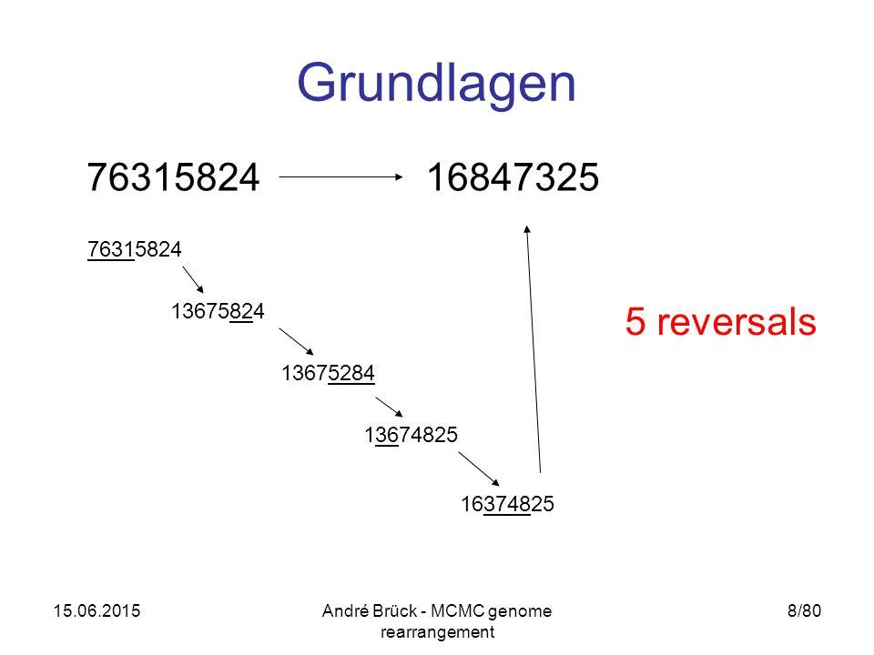 15.06.2015André Brück - MCMC genome rearrangement 8/80 Grundlagen 7631582416847325 76315824 13675824 13675284 13674825 16374825 5 reversals
