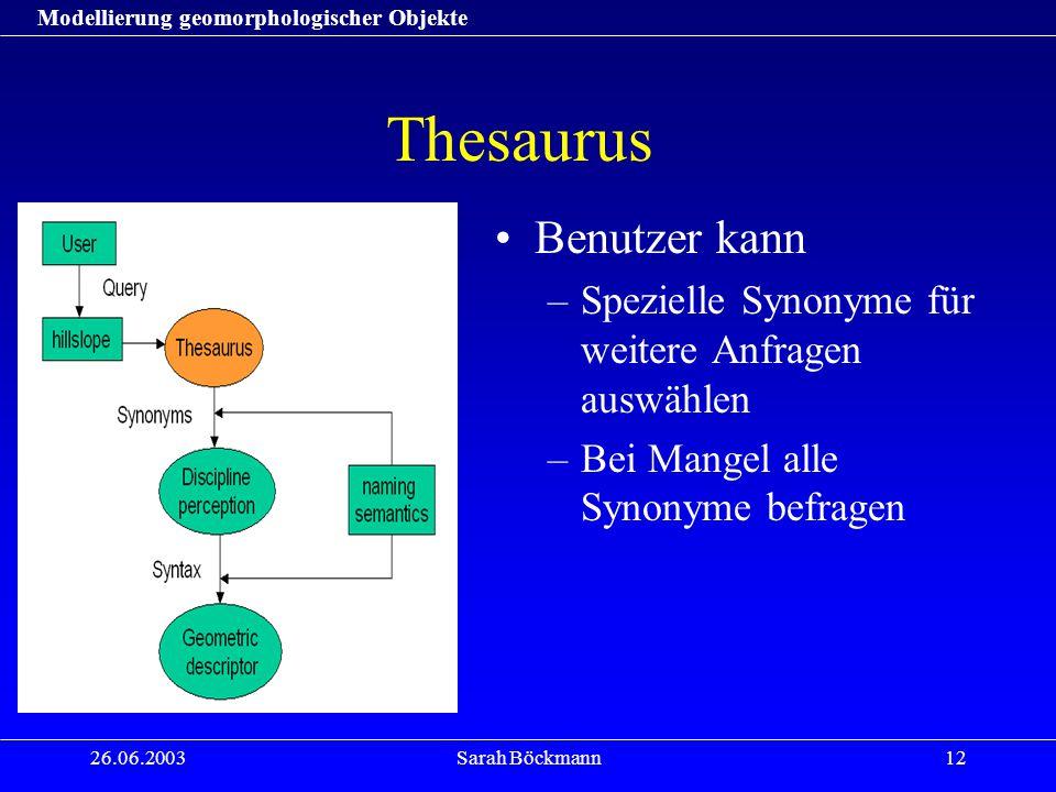Modellierung geomorphologischer Objekte 26.06.2003Sarah Böckmann12 Thesaurus Benutzer kann –Spezielle Synonyme für weitere Anfragen auswählen –Bei Man