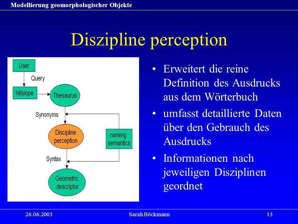 Modellierung geomorphologischer Objekte 26.06.2003Sarah Böckmann13 Diszipline perception Erweitert die reine Definition des Ausdrucks aus dem Wörterbu