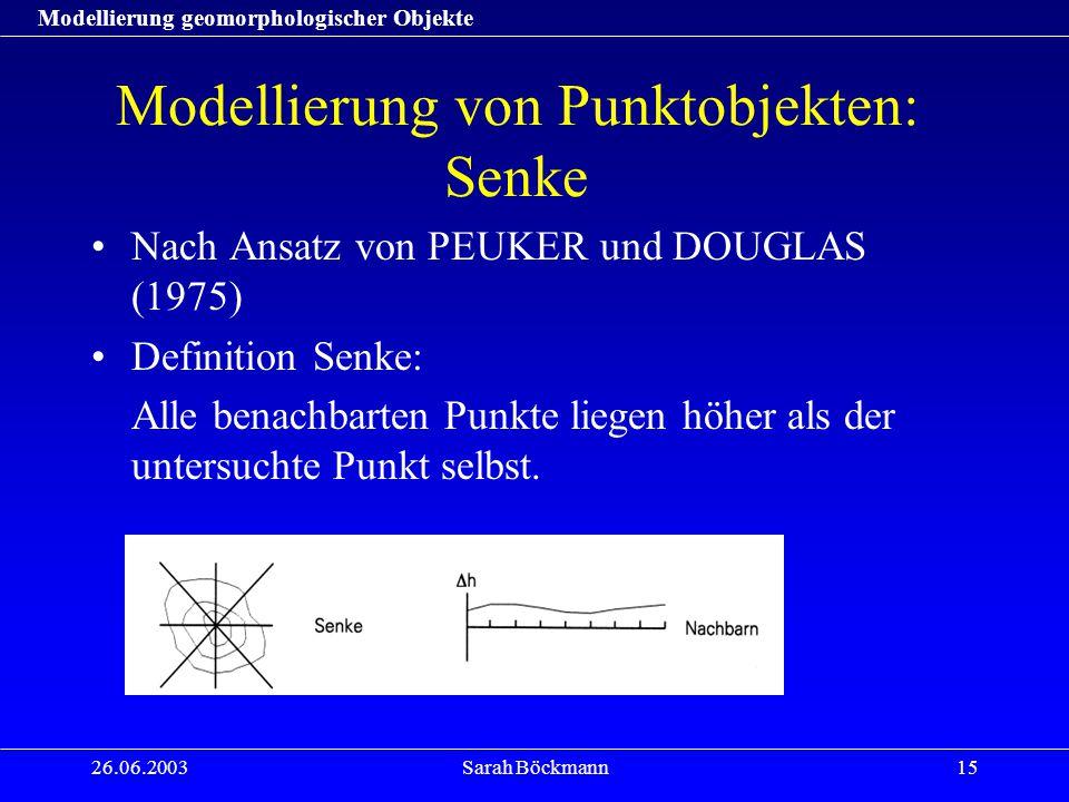 Modellierung geomorphologischer Objekte 26.06.2003Sarah Böckmann15 Modellierung von Punktobjekten: Senke Nach Ansatz von PEUKER und DOUGLAS (1975) Definition Senke: Alle benachbarten Punkte liegen höher als der untersuchte Punkt selbst.