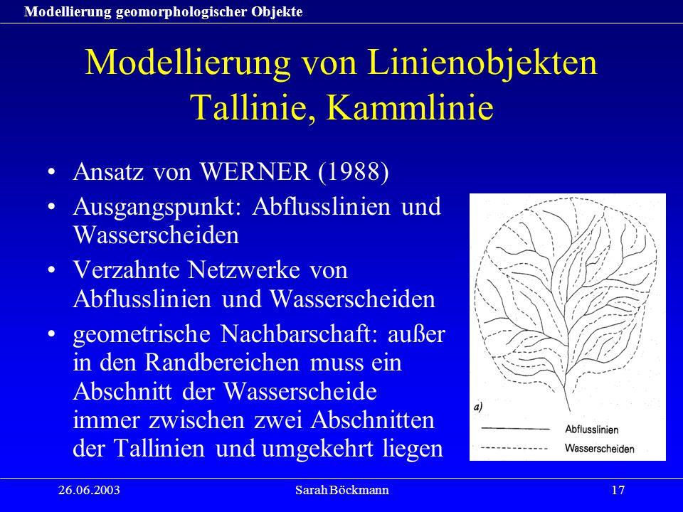 Modellierung geomorphologischer Objekte 26.06.2003Sarah Böckmann17 Modellierung von Linienobjekten Tallinie, Kammlinie Ansatz von WERNER (1988) Ausgan