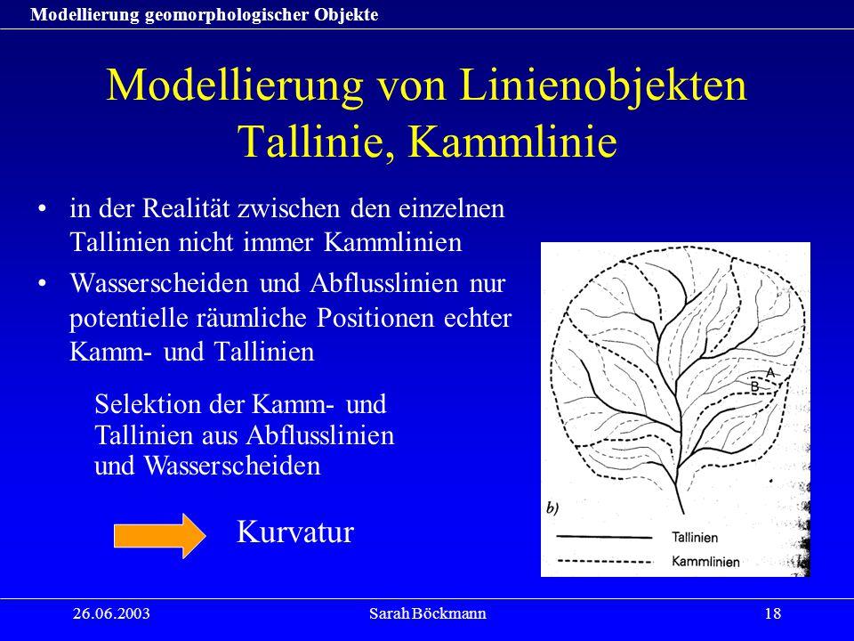 Modellierung geomorphologischer Objekte 26.06.2003Sarah Böckmann18 Modellierung von Linienobjekten Tallinie, Kammlinie in der Realität zwischen den ei