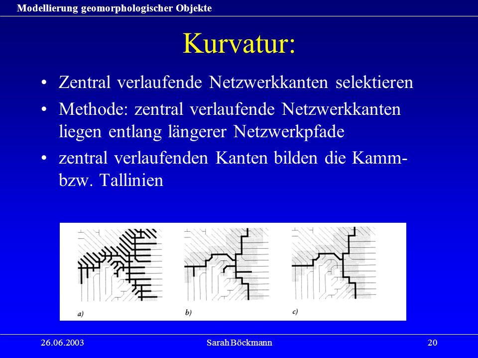 Modellierung geomorphologischer Objekte 26.06.2003Sarah Böckmann20 Kurvatur: Zentral verlaufende Netzwerkkanten selektieren Methode: zentral verlaufende Netzwerkkanten liegen entlang längerer Netzwerkpfade zentral verlaufenden Kanten bilden die Kamm- bzw.