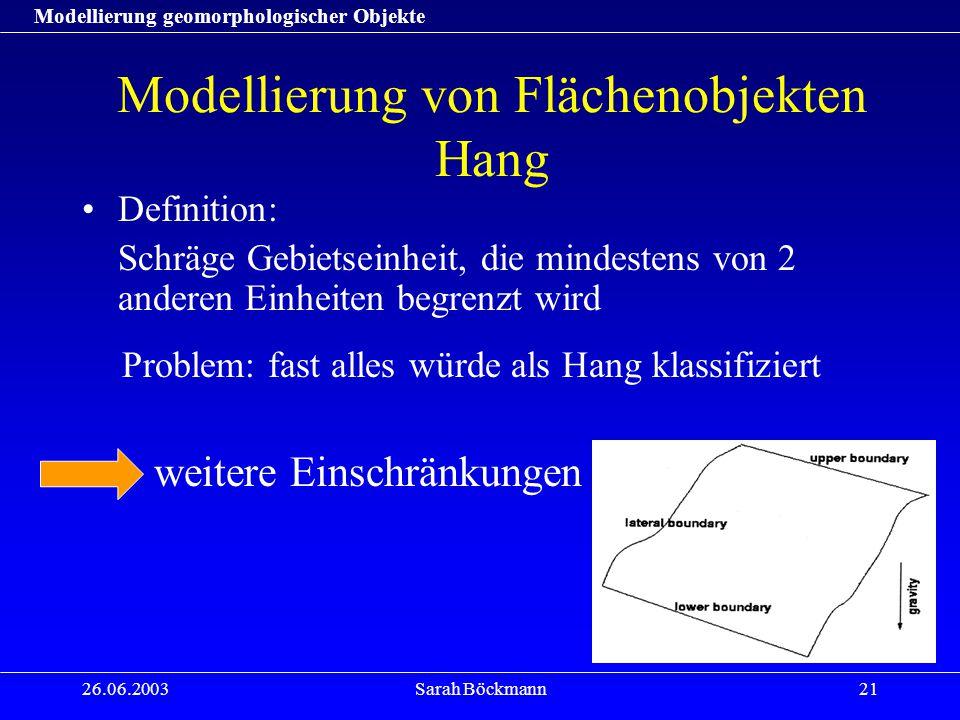 Modellierung geomorphologischer Objekte 26.06.2003Sarah Böckmann21 Modellierung von Flächenobjekten Hang Definition: Schräge Gebietseinheit, die mindestens von 2 anderen Einheiten begrenzt wird Problem: fast alles würde als Hang klassifiziert weitere Einschränkungen