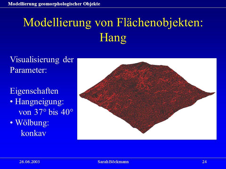 Modellierung geomorphologischer Objekte 26.06.2003Sarah Böckmann24 Modellierung von Flächenobjekten: Hang Visualisierung der Parameter: Eigenschaften Hangneigung: von 37° bis 40° Wölbung: konkav