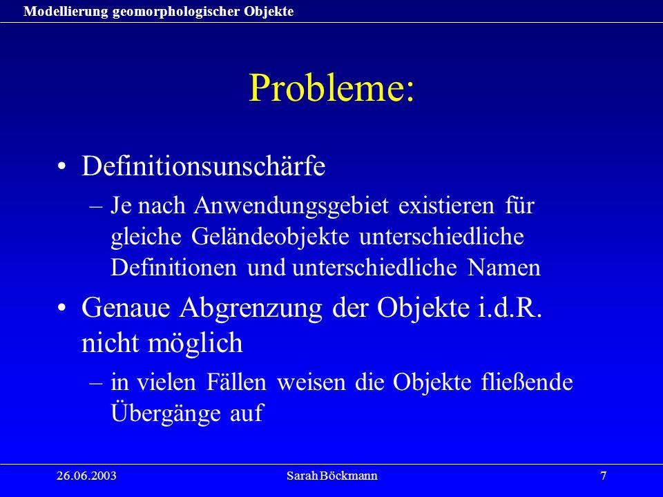 Modellierung geomorphologischer Objekte 26.06.2003Sarah Böckmann7 Probleme: Definitionsunschärfe –Je nach Anwendungsgebiet existieren für gleiche Gelä