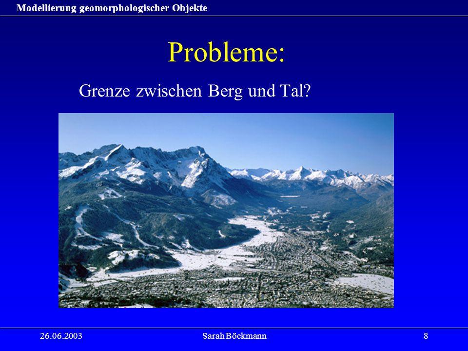 Modellierung geomorphologischer Objekte 26.06.2003Sarah Böckmann8 Probleme: Grenze zwischen Berg und Tal?