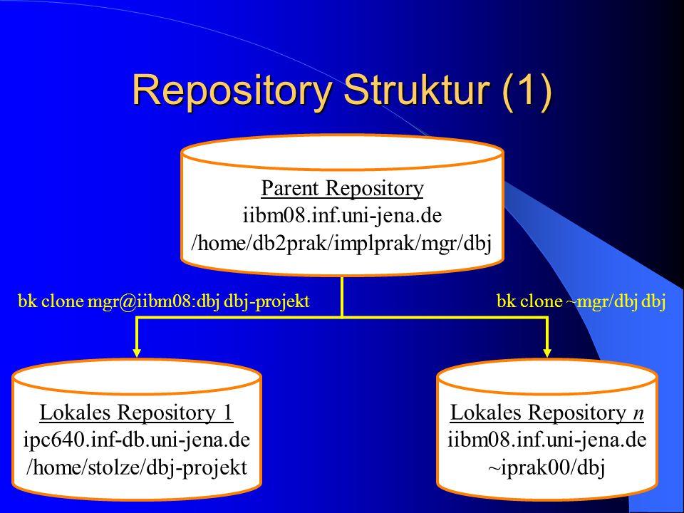3 Repository Struktur (1) Parent Repository iibm08.inf.uni-jena.de /home/db2prak/implprak/mgr/dbj Lokales Repository 1 ipc640.inf-db.uni-jena.de /home/stolze/dbj-projekt Lokales Repository n iibm08.inf.uni-jena.de ~iprak00/dbj bk clone mgr@iibm08:dbj dbj-projektbk clone ~mgr/dbj dbj