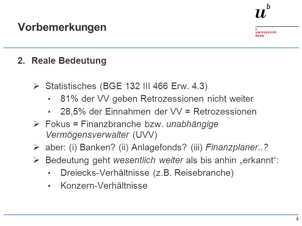 44 Vorbemerkungen 2.Reale Bedeutung  Statistisches (BGE 132 III 466 Erw. 4.3) 81% der VV geben Retrozessionen nicht weiter 28,5% der Einnahmen der VV