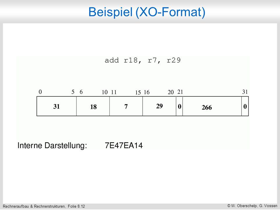 Rechneraufbau & Rechnerstrukturen, Folie 8.12 © W. Oberschelp, G. Vossen Beispiel (XO-Format)