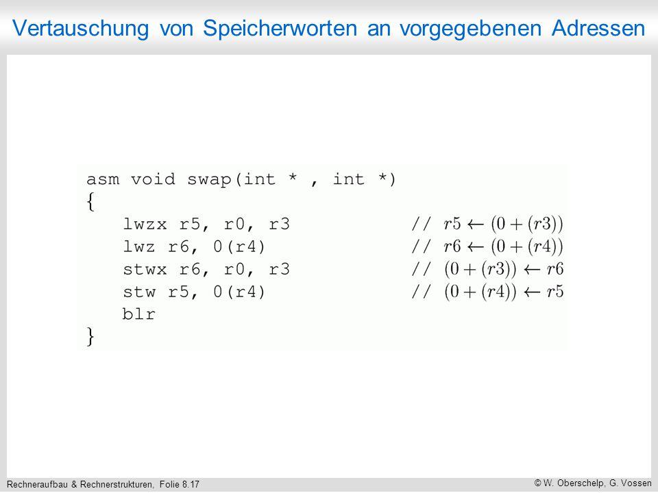 Rechneraufbau & Rechnerstrukturen, Folie 8.17 © W. Oberschelp, G. Vossen Vertauschung von Speicherworten an vorgegebenen Adressen