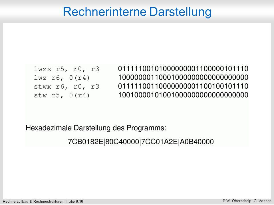 Rechneraufbau & Rechnerstrukturen, Folie 8.18 © W. Oberschelp, G. Vossen Rechnerinterne Darstellung