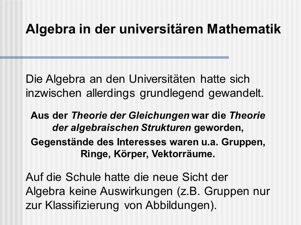 Die Algebra an den Universitäten hatte sich inzwischen allerdings grundlegend gewandelt.