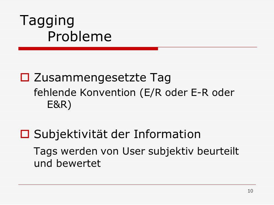 10 Tagging Probleme  Zusammengesetzte Tag fehlende Konvention (E/R oder E-R oder E&R)  Subjektivität der Information Tags werden von User subjektiv beurteilt und bewertet