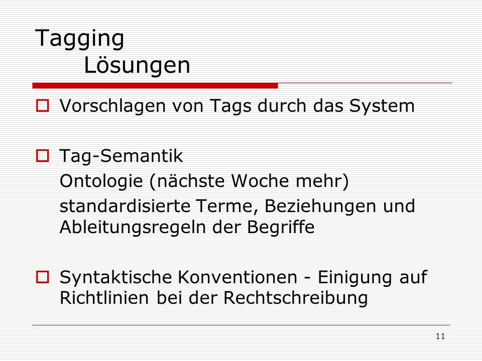 11 Tagging Lösungen  Vorschlagen von Tags durch das System  Tag-Semantik Ontologie (nächste Woche mehr) standardisierte Terme, Beziehungen und Ableitungsregeln der Begriffe  Syntaktische Konventionen - Einigung auf Richtlinien bei der Rechtschreibung