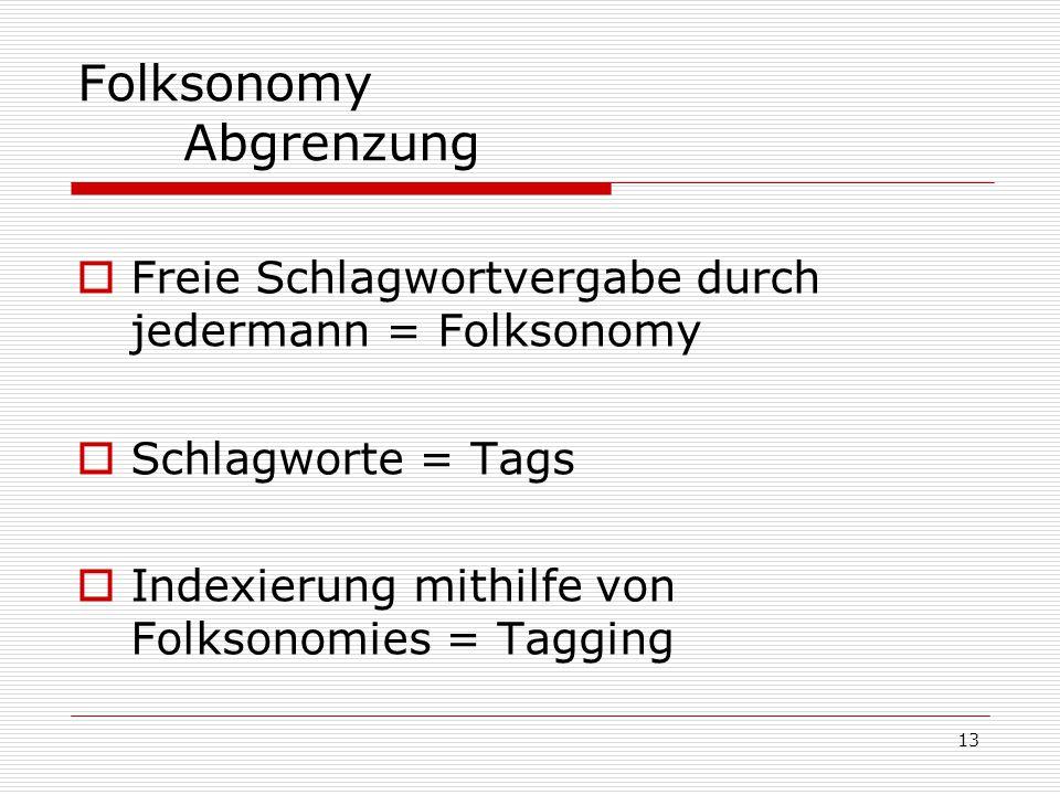 13 Folksonomy Abgrenzung  Freie Schlagwortvergabe durch jedermann = Folksonomy  Schlagworte = Tags  Indexierung mithilfe von Folksonomies = Tagging