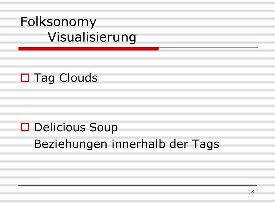 18 Folksonomy Visualisierung  Tag Clouds  Delicious Soup Beziehungen innerhalb der Tags