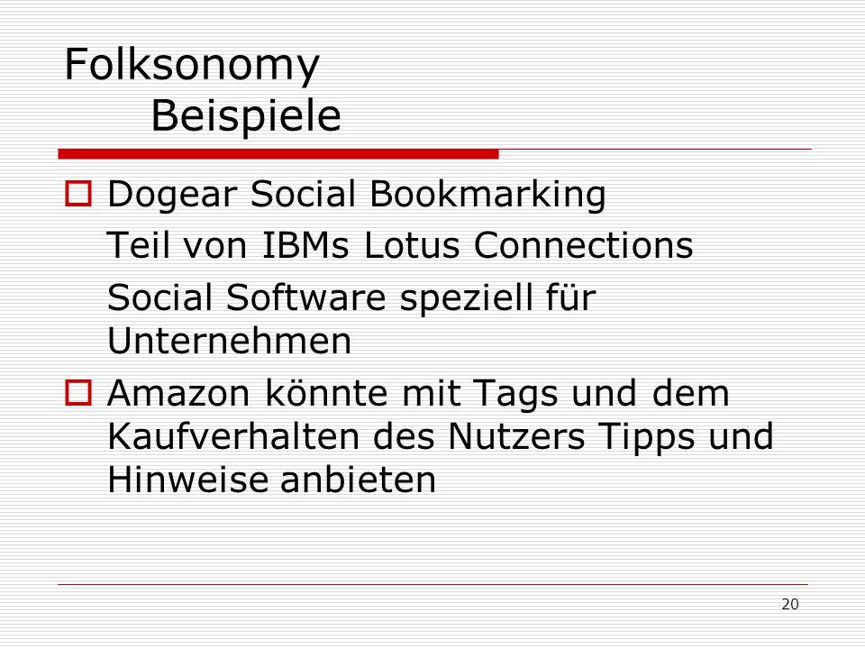 20 Folksonomy Beispiele  Dogear Social Bookmarking Teil von IBMs Lotus Connections Social Software speziell für Unternehmen  Amazon könnte mit Tags
