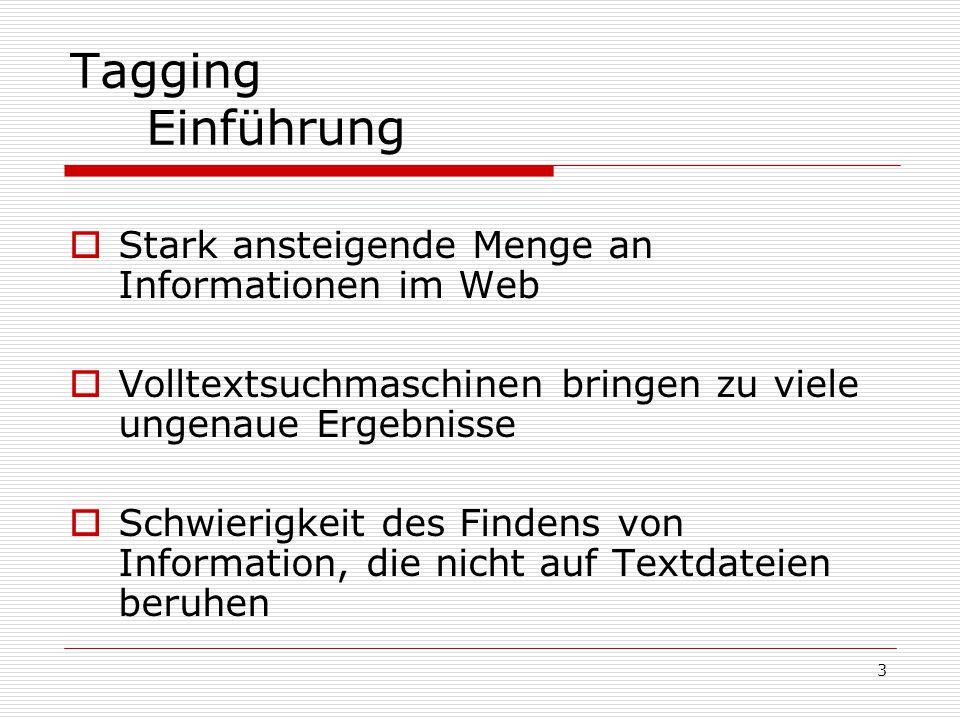 3 Tagging Einführung  Stark ansteigende Menge an Informationen im Web  Volltextsuchmaschinen bringen zu viele ungenaue Ergebnisse  Schwierigkeit des Findens von Information, die nicht auf Textdateien beruhen