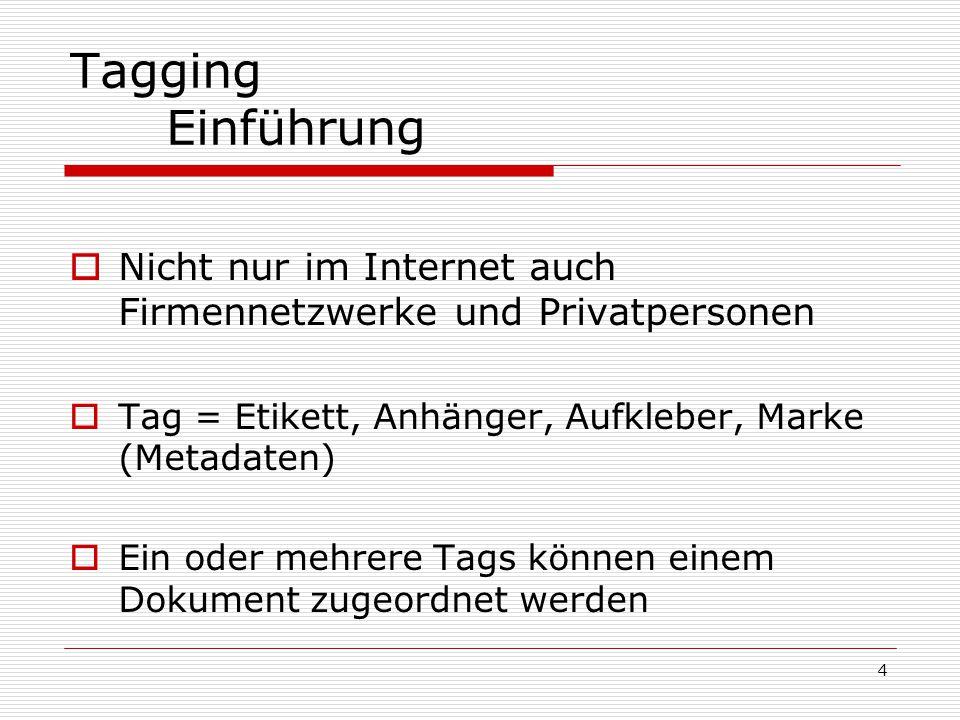 4 Tagging Einführung  Nicht nur im Internet auch Firmennetzwerke und Privatpersonen  Tag = Etikett, Anhänger, Aufkleber, Marke (Metadaten)  Ein oder mehrere Tags können einem Dokument zugeordnet werden