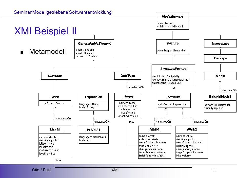 Seminar Modellgetriebene Softwareentwicklung XMIOtto / Paul11 XMI Beispiel II Metamodell