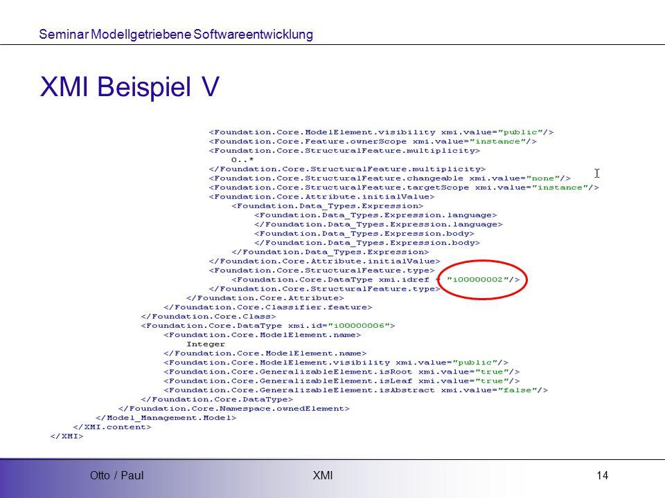 Seminar Modellgetriebene Softwareentwicklung XMIOtto / Paul14 XMI Beispiel V