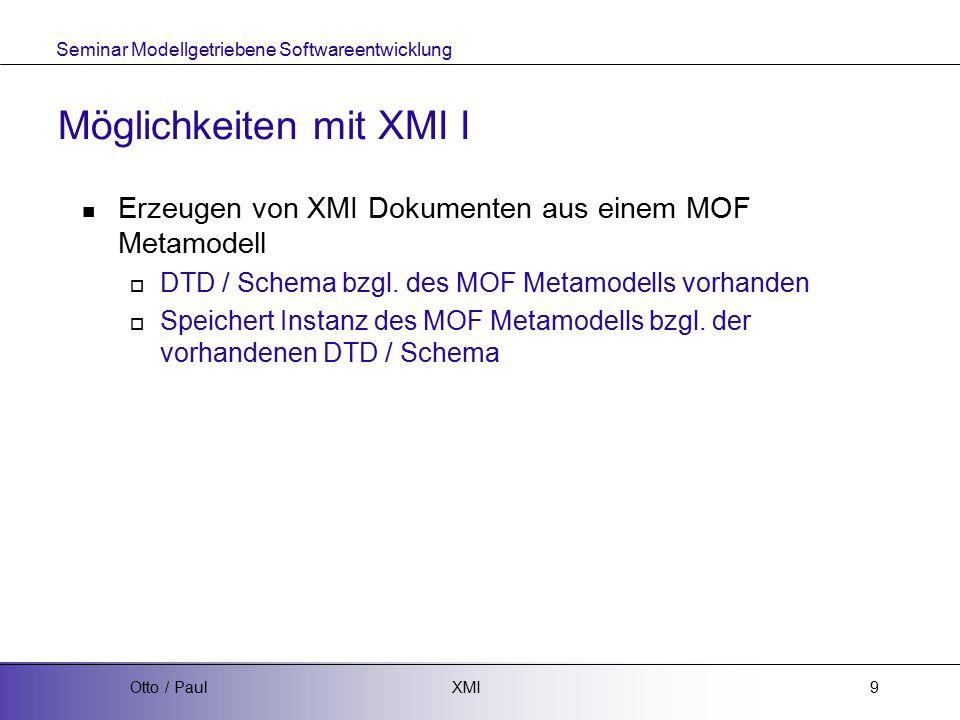 Seminar Modellgetriebene Softwareentwicklung XMIOtto / Paul20 Quellen: XMI Spezifikation  http://www.omg.org/technology/documents/modeling_spec_c atalog.htm#XMI http://www.omg.org/technology/documents/modeling_spec_c atalog.htm#XMI Literatursammlung von M.