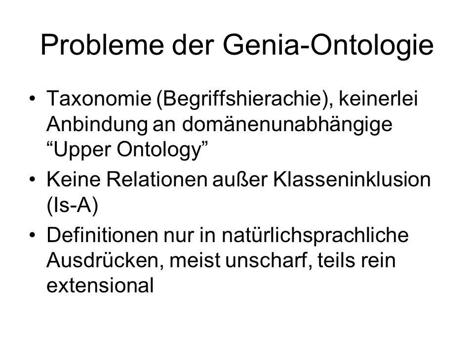 """Probleme der Genia-Ontologie Taxonomie (Begriffshierachie), keinerlei Anbindung an domänenunabhängige """"Upper Ontology"""" Keine Relationen außer Klasseni"""