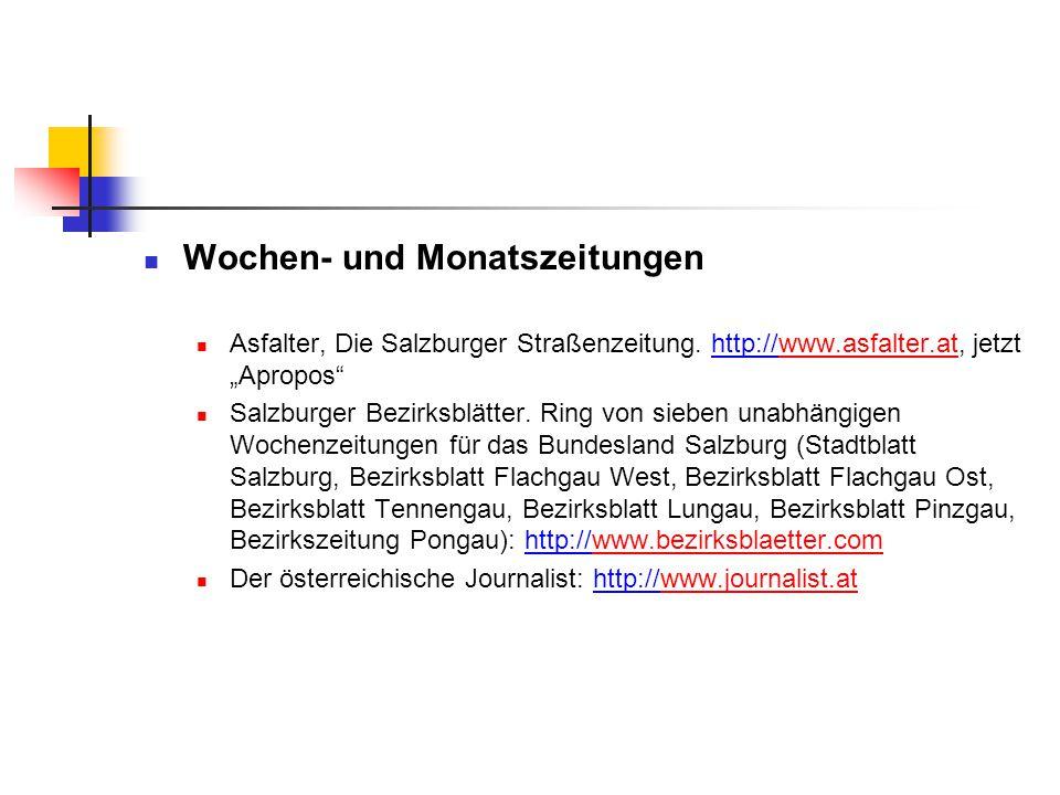"""Wochen- und Monatszeitungen Asfalter, Die Salzburger Straßenzeitung. http://www.asfalter.at, jetzt """"Apropos""""www.asfalter.at Salzburger Bezirksblätter."""
