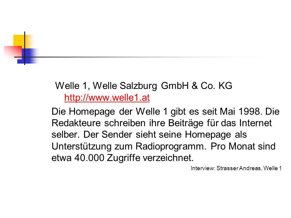 Welle 1, Welle Salzburg GmbH & Co. KG http://www.welle1.at http://www.welle1.at Die Homepage der Welle 1 gibt es seit Mai 1998. Die Redakteure schreib