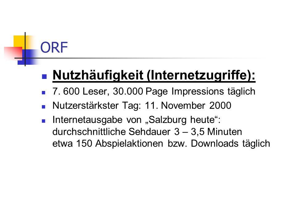 """ORF Nutzhäufigkeit (Internetzugriffe): 7. 600 Leser, 30.000 Page Impressions täglich Nutzerstärkster Tag: 11. November 2000 Internetausgabe von """"Salzb"""