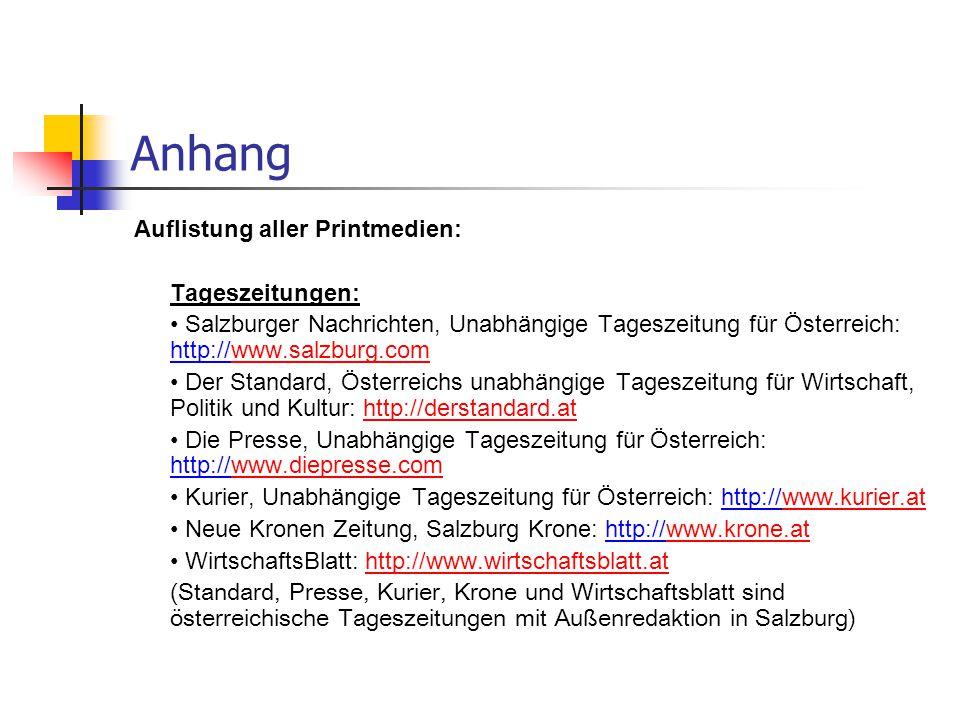 Anhang Auflistung aller Printmedien: Tageszeitungen: Salzburger Nachrichten, Unabhängige Tageszeitung für Österreich: http://www.salzburg.comwww.salzburg.com Der Standard, Österreichs unabhängige Tageszeitung für Wirtschaft, Politik und Kultur: http://derstandard.athttp://derstandard.at Die Presse, Unabhängige Tageszeitung für Österreich: http://www.diepresse.comwww.diepresse.com Kurier, Unabhängige Tageszeitung für Österreich: http://www.kurier.atwww.kurier.at Neue Kronen Zeitung, Salzburg Krone: http://www.krone.atwww.krone.at WirtschaftsBlatt: http://www.wirtschaftsblatt.athttp://www.wirtschaftsblatt.at (Standard, Presse, Kurier, Krone und Wirtschaftsblatt sind österreichische Tageszeitungen mit Außenredaktion in Salzburg)