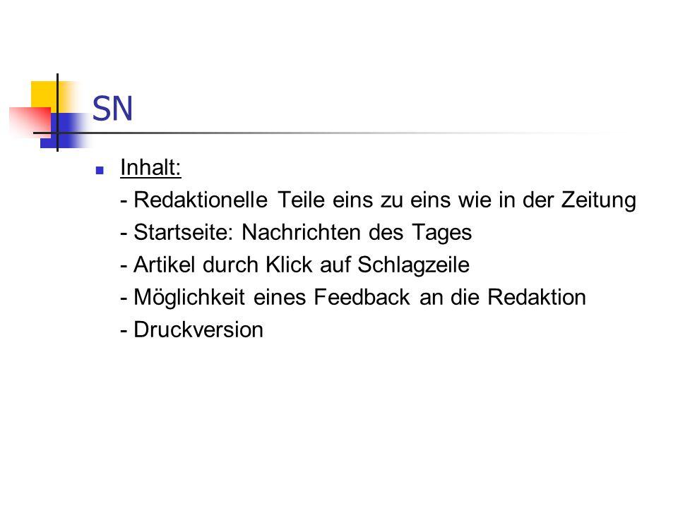 SN Resümee: interessante zusätzliche Informationsangebote eigene Onlineredakteure Meiste Zugriffe: Spiele, Nachrichteninformationen und Tourismusbereich.