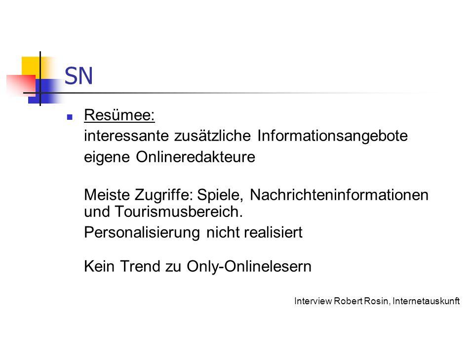 SN Resümee: interessante zusätzliche Informationsangebote eigene Onlineredakteure Meiste Zugriffe: Spiele, Nachrichteninformationen und Tourismusberei
