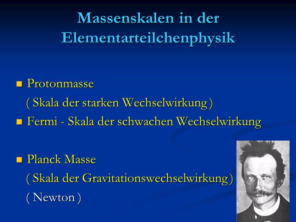 Massenskalen in der Elementarteilchenphysik Protonmasse Protonmasse ( Skala der starken Wechselwirkung ) ( Skala der starken Wechselwirkung ) Fermi -