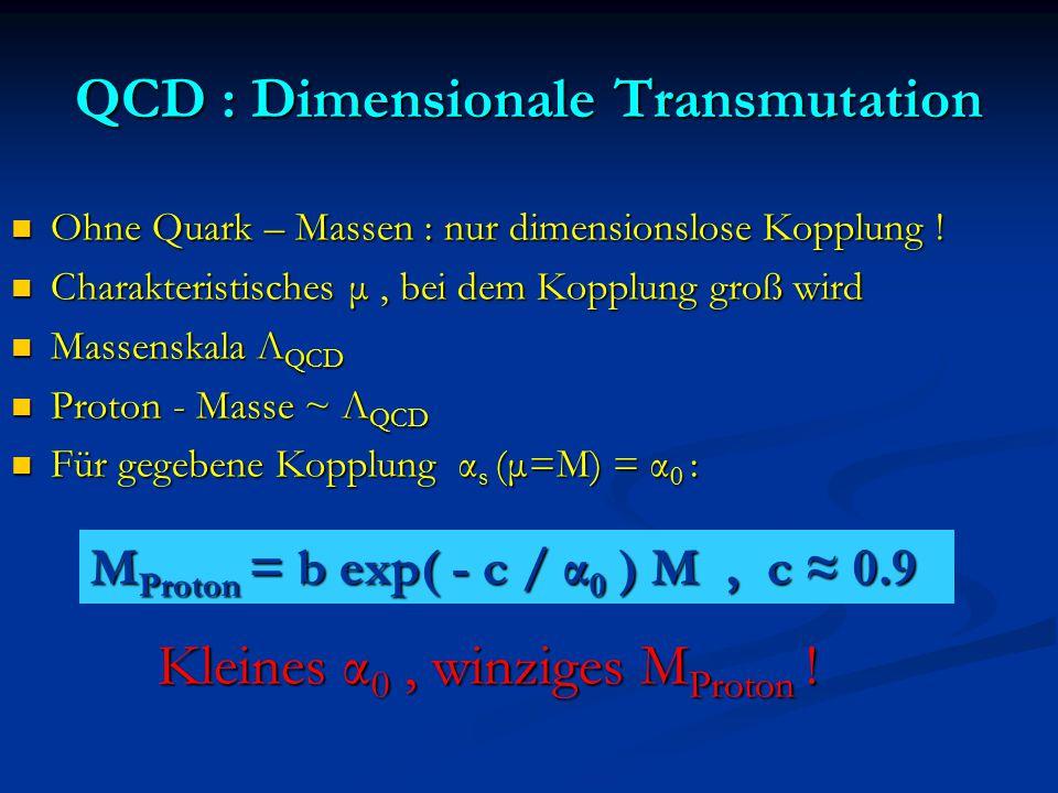 QCD : Dimensionale Transmutation Ohne Quark – Massen : nur dimensionslose Kopplung ! Ohne Quark – Massen : nur dimensionslose Kopplung ! Charakteristi