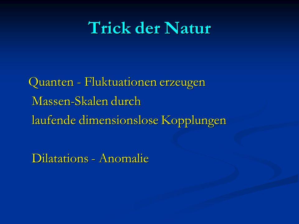 Trick der Natur Quanten - Fluktuationen erzeugen Quanten - Fluktuationen erzeugen Massen-Skalen durch Massen-Skalen durch laufende dimensionslose Kopp