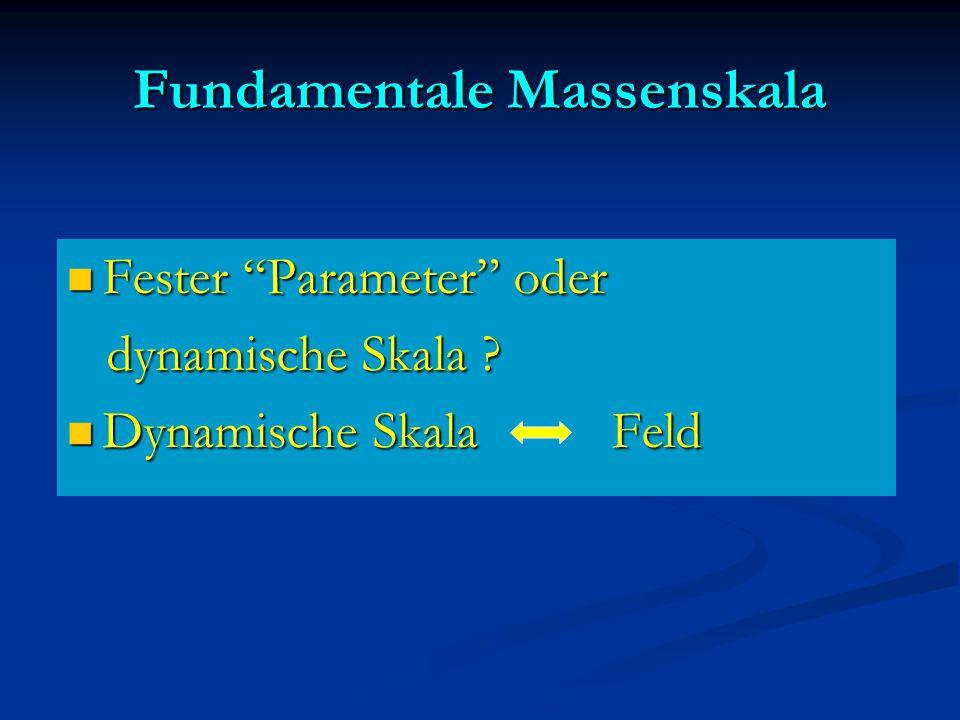 "Fundamentale Massenskala Fester ""Parameter"" oder Fester ""Parameter"" oder dynamische Skala ? dynamische Skala ? Dynamische Skala Feld Dynamische Skala"