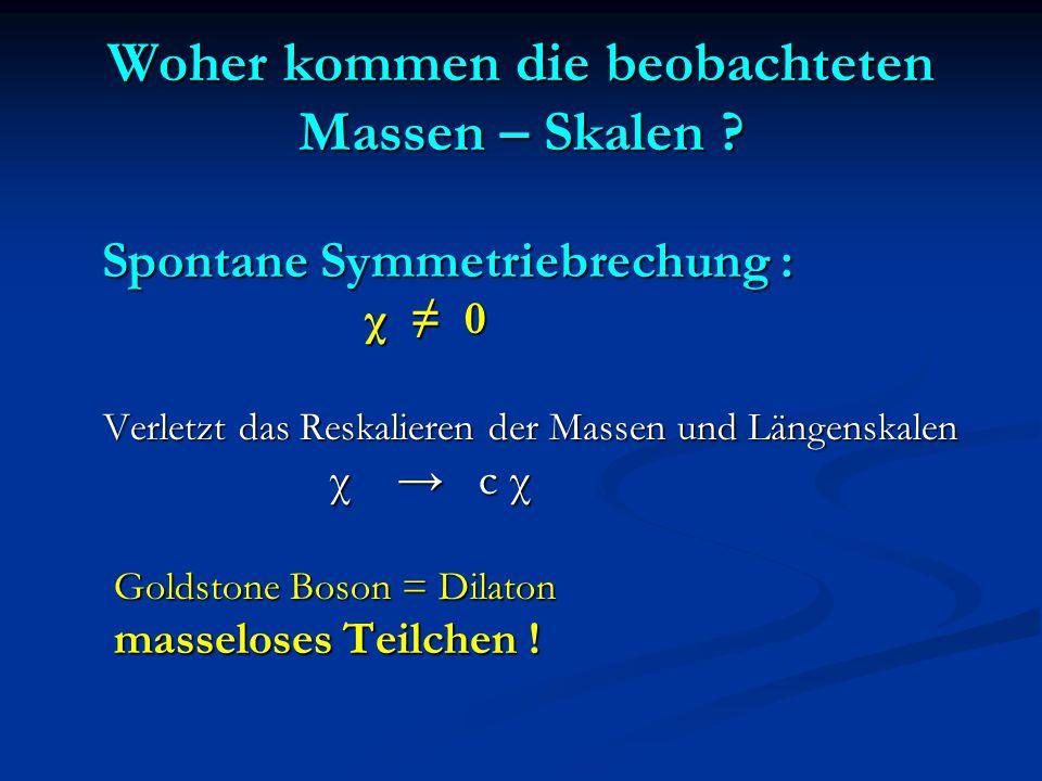 Woher kommen die beobachteten Massen – Skalen ? Spontane Symmetriebrechung : Spontane Symmetriebrechung : χ ≠ 0 χ ≠ 0 Verletzt das Reskalieren der Mas
