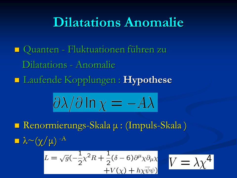 Dilatations Anomalie Quanten - Fluktuationen führen zu Quanten - Fluktuationen führen zu Dilatations - Anomalie Dilatations - Anomalie Laufende Kopplu