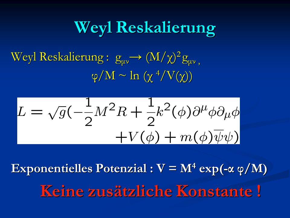 Weyl Reskalierung Weyl Reskalierung : g μν → (M/χ) 2 g μν, φ/M ~ ln (χ 4 /V(χ)) φ/M ~ ln (χ 4 /V(χ)) Exponentielles Potenzial : V = M 4 exp(-α φ/M) Keine zusätzliche Konstante .