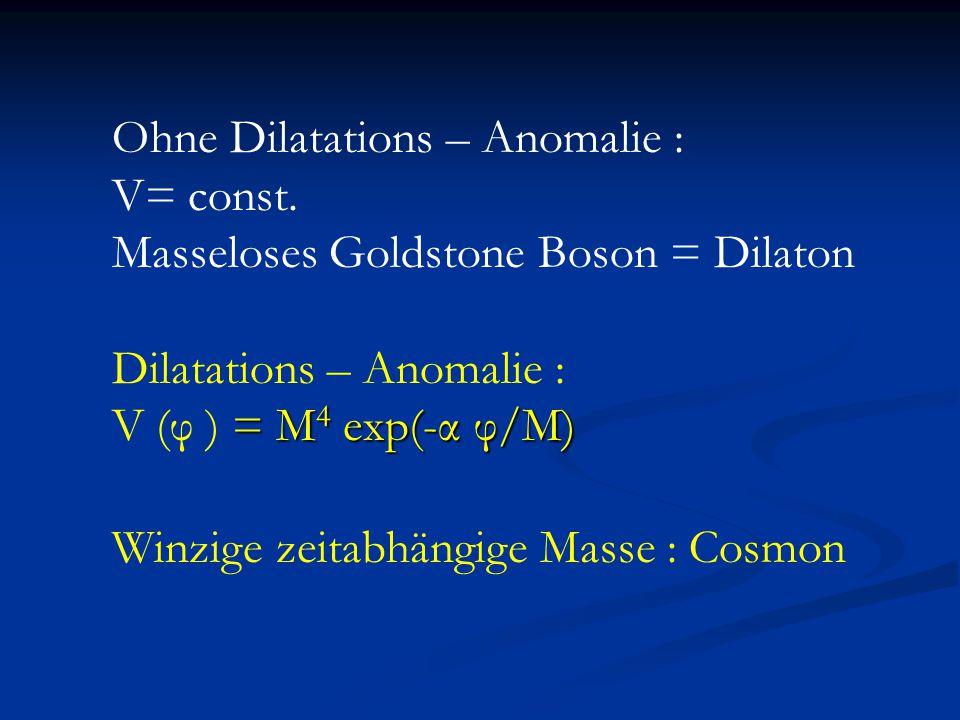 Ohne Dilatations – Anomalie : V= const. Masseloses Goldstone Boson = Dilaton Dilatations – Anomalie : = M 4 exp(-α φ/M) V (φ ) = M 4 exp(-α φ/M) Winzi
