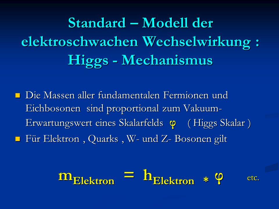 Standard – Modell der elektroschwachen Wechselwirkung : Higgs - Mechanismus Die Massen aller fundamentalen Fermionen und Eichbosonen sind proportional