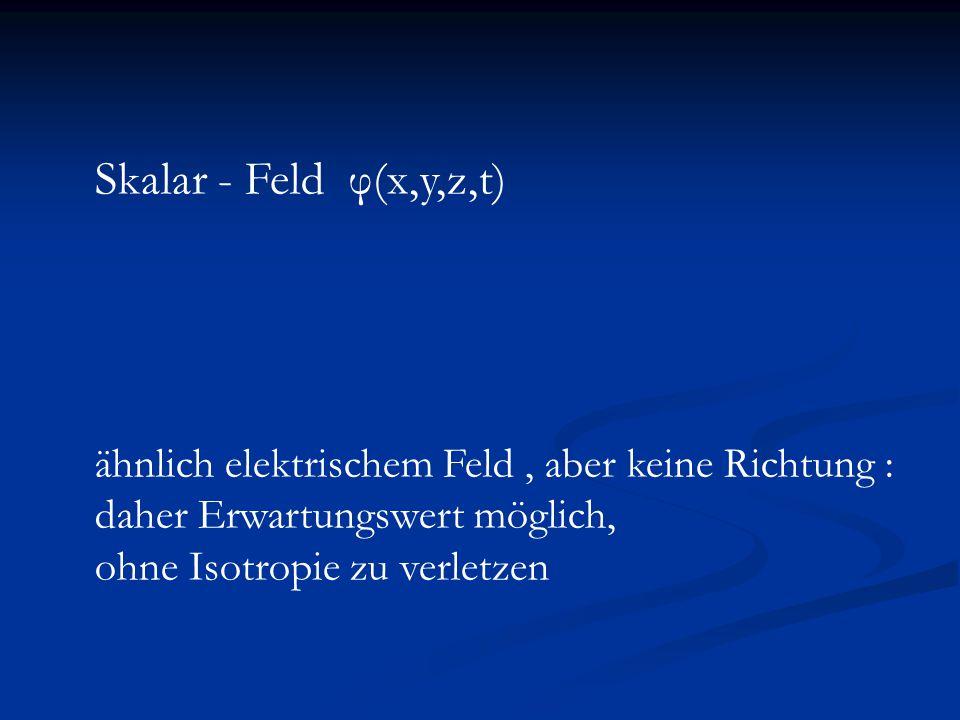 Quintessenz und Zeitabhängigkeit der fundamentalen Konstanten Feinstrukturkonstante hängt vom Wert des Feinstrukturkonstante hängt vom Wert des Kosmon Felds ab: α(φ) Kosmon Felds ab: α(φ) ähnlich Higgsfeld in schwacher Wechselwirkung ähnlich Higgsfeld in schwacher Wechselwirkung Zeitentwicklung von φ Zeitentwicklung von φ Zeitentwicklung von α Zeitentwicklung von α Jordan Jordan