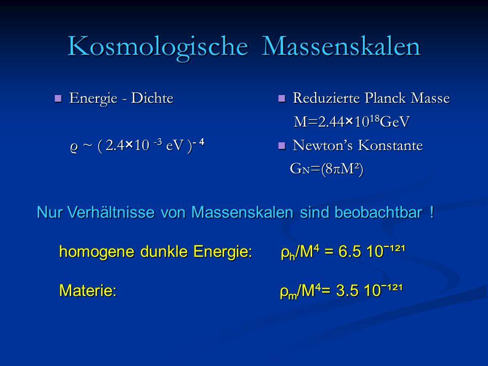 Kosmologische Massenskalen Energie - Dichte Energie - Dichte ρ ~ ( 2.4×10 -3 eV ) - 4 ρ ~ ( 2.4×10 -3 eV ) - 4 Reduzierte Planck Masse M=2.44×10 18 GeV Newton's Konstante G N =(8πM²) Nur Verhältnisse von Massenskalen sind beobachtbar .