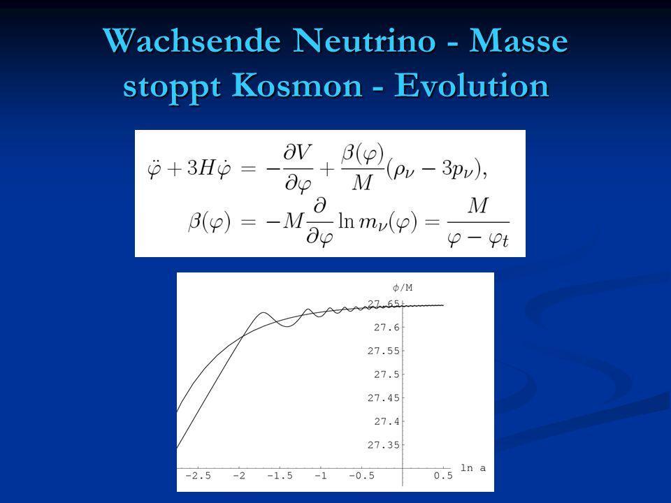 Wachsende Neutrino - Masse stoppt Kosmon - Evolution
